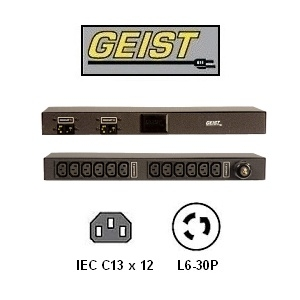Picture of Rack Mount PDU w/ 12 x IEC C13 Outlets and 10 foot L6-30P Twist Lock Power Cord