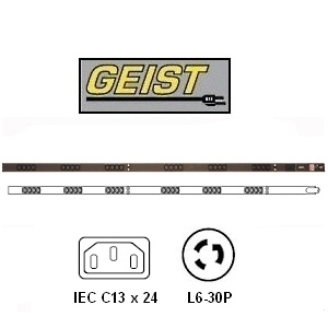 "Picture of 66"" Vertical Rack PDU - 30A/208V w/ 24 x C13 Outlets and 10 foot L6-30P Power Cord"