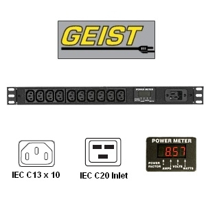 """Picture of 17"""" Metered Rack Mount PDU - 20A, 120V or 208V w/ 10 x IEC C13 Outlets and C20 Inlet Power Connection"""