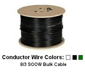 Picture of 8/3 Bulk Portable Cord Rated for 600V - w/ SOOW Jacket