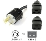 Picture of Splitter Power Cord - L5-20P to Two Way C19 Legs, 12/3,  20A, 125V