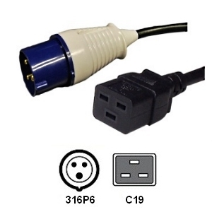 Picture of IEC 316P6 to C19 Power Cord - 15 Foot, 16 Amp, 230V