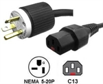 Picture of 5-20P to Locking C13 Power Cord - 6 Foot 10 Amp 125V