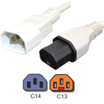Picture of IEC C14 to Locking IEC C13 Power Cord, White, 10A, 250V - 5 Foot