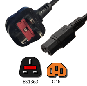 Picture of BS1363 to C15 Power Cord - 2 Meter Rated 10A, 250V, H05VV