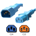 Picture of Carolina Blue C14 to C13 Power Cord - 2 Foot 15A, 250V, 14/3 AWG