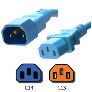 Picture of Carolina Blue C14 to C13 Power Cord - 3 Foot 15A, 250V, 14/3 AWG SJT